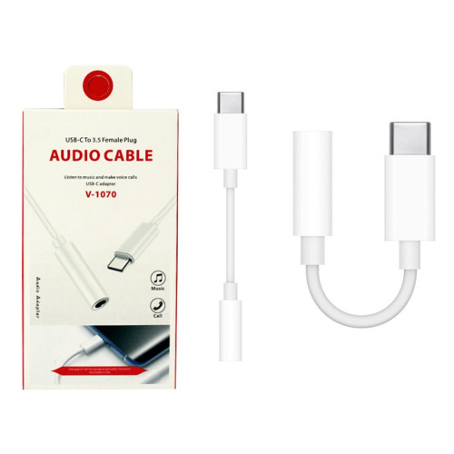 VD Bluetooth USB-C to 3.5mm Audio Headphone Adaptor - White