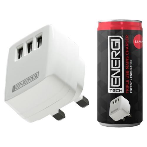 Tech Energi Triple USB Mains Charger 3.1Amp
