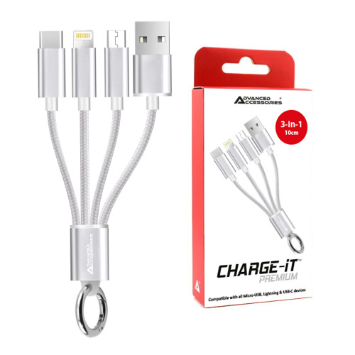AA CHARGE-iT 3in1 USB Cable - 8 Pin/USB-C/MicroUSB