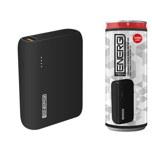 Tech Energi® TE100 PD (Power Delivery) QC 3.0 (Quick Charge) 10000mAh Power Bank On the Go - Black
