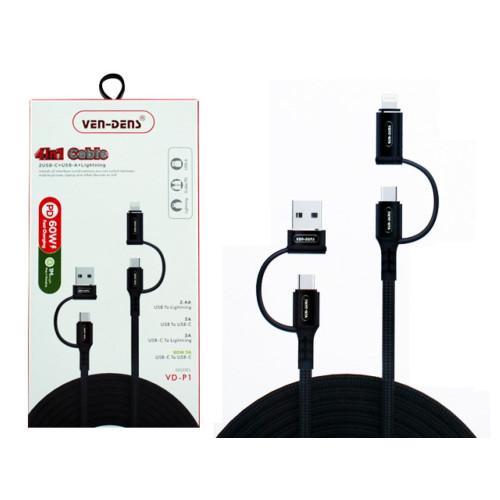 VD 4in1 USB C To USB A/USB C TO 8 Pin Nylon USB Cable