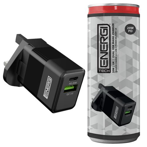 Tech Energi 20W 3A PD Dual USB/USB-C UK Mains Charger